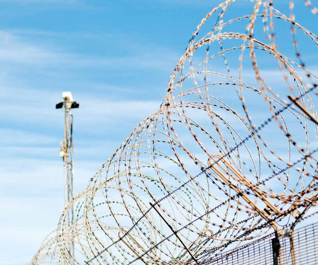 Prison barbed wire fencing