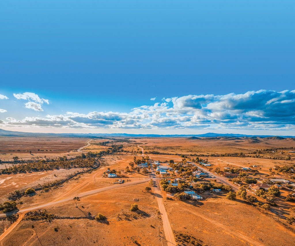 Remote community town drone photo